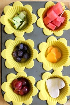 The muffin tin makes for a fun presentation and ensures that I offer at least six different food items in toddler-friendly portions