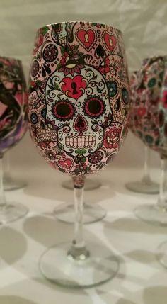 Custom Sugar skull Wine Glasses #WineGlasses