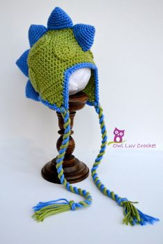 Drake the Dinosaur Crochet Hat Pattern (Newborn-Adult Sizes)