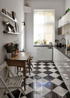 You have got a small kitchen, we've got ideas to make it better - including tips, pictures, and storage solutions. Look out design inspiration from these awesome small kitchen design ideas. Small White Kitchens, Narrow Kitchen, Black Kitchens, Home Kitchens, Kitchen Small, Kitchen White, Small Dining, Kitchen Tiles, Kitchen Flooring