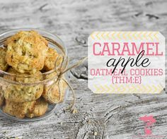 A moist, delicious THM E oatmeal cookies that amps up the flavor with caramel and apples!I used caramel extract instead of butterscotch, added scoop of protein powder, and cup sugar free homemade applesauce Trim Healthy Recipes, Thm Recipes, Apple Recipes, Clean Recipes, Healthy Desserts, Cooking Recipes, Apple Oatmeal, Mama Recipe, Homemade Applesauce