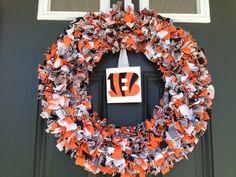 Fabric Cincinnati Bengals Wreath Football by TheCreativeTeacher