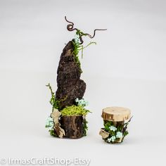 Fairy Garden Chair and Table, Fairy Accessories, Fairy Furniture, Fits Fairy CONDO Levels, Faeries Decor, Fairy Item, Twig Furniture by IrmasCraftShop on Etsy