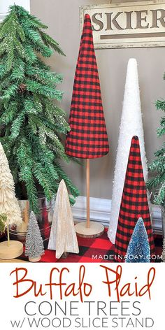 Buffalo Plaid Christmas Forest with Cone Tree Stand tutorial #Entryway, sisal tree, glitter bottle brush tree, woodland snow trees, vintage sled, #BuffaloPlaid, #holiday entryway, #sponsored