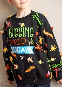 """100 Days of School Shirt Idea: 'Bugging' My Teacher - - This 100 Days of School shirt idea is just *crawling* with coolness! Show how your kiddo """"bugs"""" his/her teacher in this fun and simple school project! Kindergarten Teacher Shirts, Preschool Shirts, Kindergarten First Day, My Teacher, Kindergarten Graduation, 100th Day Of School Crafts, 100 Day Of School Project, First Day Of School, School Projects"""