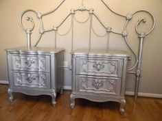 Fabulous metallic nightstands by Altar'd Designs! I already have a wonderfully similar iron bed.