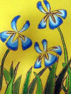 Oil pastel irises on yellow paper.