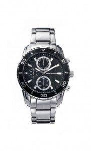 Colección Timeless luxury - HM6005-57. Reloj de caballero multifunción brazalete. Esfera negra, bisel negro numerado y cierre desplegable. Impermeable 30 metros (3 ATM). Precio: 69,00 €