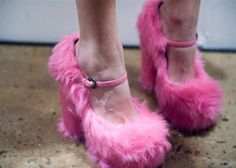 Pink furry heels... would you rock them?