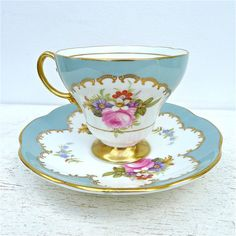 Vintage Foley Rose Floral Tea Cup and Saucer by twolittleowls