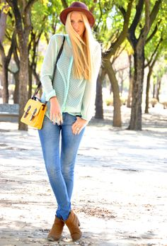Mint blouse #fashion #style #outfit , Zara in Shirt / Blouses, Primark in Bags, Coolway in Boots, H&M in Hats
