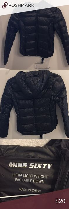 Black puffy jacket Down puffy jacket, miss sixty, xs, hardly used Miss Sixty Jackets & Coats Puffers