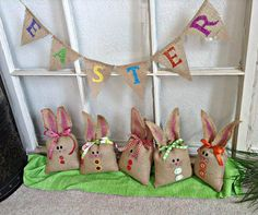 Easter Burlap Mini Banner Bunting Garland Pennant Flag Easter Decoration - We Do Custom Banners by SheriSewSweet on Etsy, $12.00