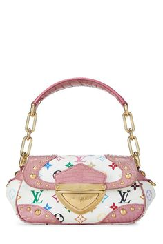 Takashi Murakami x Louis Vuitton White Monogram Multicolore Croc Marilyn Handbag Louis Vuitton Multicolor, Takashi Murakami, Pre Owned Louis Vuitton, Cute Purses, Shoulder Strap, Shoulder Bags, Luxury Bags, Birkin, Luxury Branding