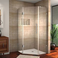 Shop for Aston Avalux GS x x Completely Frameless Shower Enclosure w. Glass Shelves in Chrome. Get free delivery On EVERYTHING* Overstock - Your Online Home Improvement Shop! Get in rewards with Club O! Frameless Shower Enclosures, Frameless Shower Doors, Bathroom Shower Doors, Shower Tub, Bathtub Doors, Bathroom Vanities, Sinks, Toilette Design, Shower Base