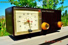 SOLD! - Aug 14, 2015 - BLUETOOTH MP3 READY - EXPRESSO Retro Mid Century Jetsons 1956 Motorola 57CE Tube AM Clock Radio Totally Restored!