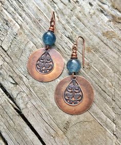 blue apatite copper boho earrings