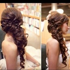 Wedding Hair To The Side | long side swept curls by jackay