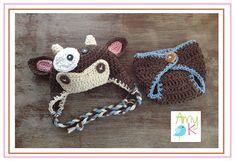 Cow Hat Diaper Cover Baby Boy Baby Boy Hats Crochet by azek2000, $42.00