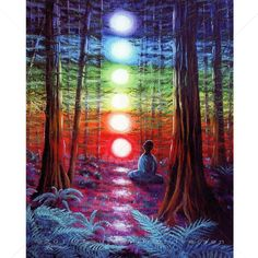 Chakra Meditation Rainbow Redwood Tree Art Yoga Print.