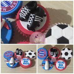 Cupackes de deportes. Cupcakes de futbol. Cupcakes del Bayern. Cupcakes de avión. Cupcakes guayos fondant