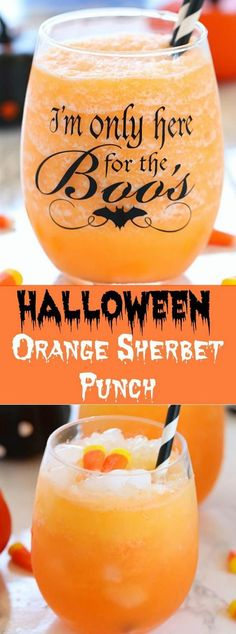 Whip up a big pitcher or bowl of this colorful, sweet and bubbly 3-ingredientHalloween Orange Sherbet Punch and it surely impress many of your guests! Holidays Halloween, Halloween Ideas, Halloween Goodies, Halloween Food For Party, Halloween Desserts, Spooky Halloween, Halloween Drinks Kids, Halloween Makeup, Halloween Dishes
