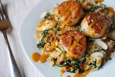 gingersnaps: Seared Scallops over Roasted Cauliflower Arugula Couscous with a Curry Emulsion