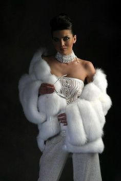 White fox fur jacket