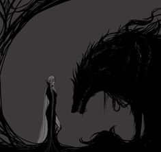 Fantasy art by Banished Shadow:-- I see Hela and her brother, Fenrir, you can even see the chain that binds the beast.