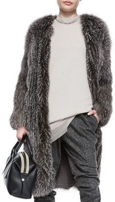 Brunello Cucinelli Fox Fur Cashmere-Knit Long Coat