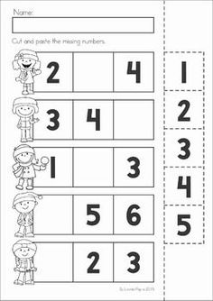 Winter Preschool Math and Literacy No Prep worksheets and activities. A page from the unit: cut and paste the numbers to complete the number sequence completar a sequencia de numeros Teaching Numbers, Numbers Preschool, Math Numbers, Preschool Math, Preschool Winter, Kindergarten Prep, Kindergarten Math Worksheets, Alphabet Worksheets, Preschool Activities