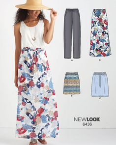 Sew a daytime floral maxi skirt that is perfect for spring and summer like this New Look pattern 6436! This easy pull on skirt has an elastic waist with a tie belt. It also includes a pattern for pants.
