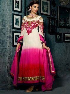White And Pink Georgette Anarkali Suit With Handwork (With Santone Inner) www.saree.com