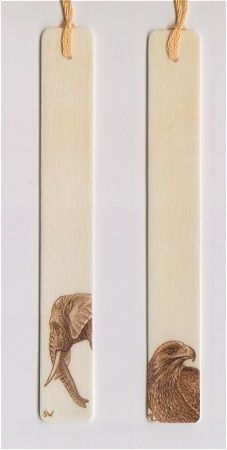 Pyrography on piano key ivory bookmarks - Elephant and Hawk - (Sue Walters)