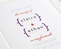 Modern Wedding Invitations - Addition of Love Sample in Purple and Red #stationery $4.50 each