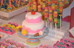 Cake and candy at a Sweets Shoppe Party #sweets #partycake