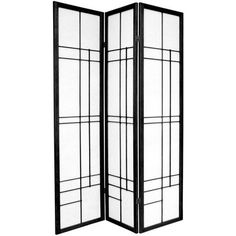 Oriental Furniture 72 Eudes Decorative Paned Room Divider in Black | Wayfair