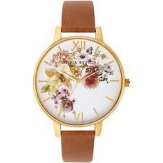 Olivia Burton Flower Show Watch - Gold & Tan ($120) ❤ liked on Polyvore featuring jewelry, watches, accessories, bracelets, bracelet watches, gold bracelet watches, olivia burton watches, gold wrist watch and gold watches