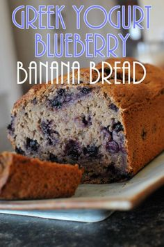 Greek Yogurt Blueberry Banana Bread -The Diary of a Real Housewife - Fun snack ideas for kids. #snacks #kids #afterschool
