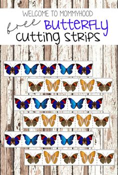 Practical life activities: free butterfly themed cutting strips - perfect for spring by Welcome to Mommyhood Montessori Art, Montessori Practical Life, Montessori Toddler, Preschool Learning Activities, Spring Activities, Preschool Activities, Caterpillar Preschool, Hungry Caterpillar, Butterfly