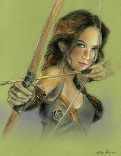 Hunger games Katniss - Pastel drawing art print. $20.00, via Etsy.