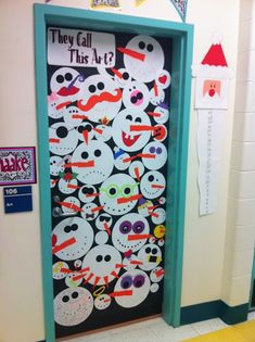 Apex Elementary Art: December 2011 Great ideas for classroom door decorations. Diy Christmas Door Decorations, School Door Decorations, Christmas Door Decorating Contest, Winter Decorations, Arte Elemental, Classe D'art, School Doors, Winter Art, Winter Time