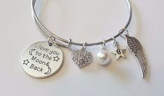 I love you to the Moon and Back Personalized Jewelry Bracelet Bangle Silver Tone #Handmade