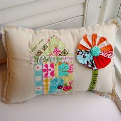 cute patchwork pillow with flower and house Applique Pillows, Patchwork Pillow, Sewing Pillows, Quilted Pillow, Patchwork Quilting, Cute Pillows, Throw Pillows, Sewing Crafts, Sewing Projects