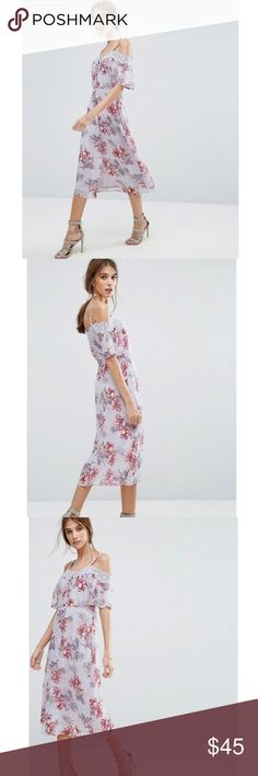 "NWT ASOS | Floral Midi Dress * ASOS by New Look * Crinkled chiffon * Fully lined * Cold-shoulder design * Button placket * Lace trim * Machine wash * 100% Polyester * Model is 5'6.5"" tall * Plz ask for measurements   Reasonable offers always considered. Over 175 items listed so bundle to save more!  #wedding#brunch#boho ASOS Dresses Midi"