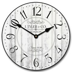Harbor White Wall Clock, Available in 8 sizes, Most Sizes Ship 2 - 3 days, Whisper Quiet. Large White Wall Clock, White Wall Clocks, Grey Wood, White Wood, Clocks Fall Back, Yellow Clocks, Best Wall Clocks, Clocks For Sale, Wood Clocks
