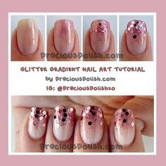 bornprettynail:    Full post here :... Gradient Nails Tutorial, Glitter Gradient Nails, Nail Polish Holder, Nail Polish Storage, Swag Nails, Diy Nails, Manicure Ideas, Nail Ideas, Prom Nails