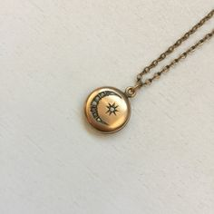 antique moon and star gold locket by gladghosts on Etsy