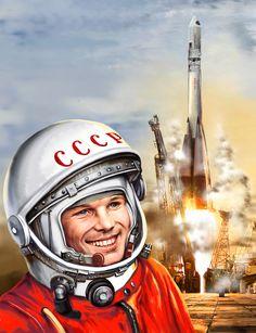 Historical Memorabilia Dynamic 1982 Gagarin Palekh Space Cosmos Rocket Astronaut Book Album Russian Ussr Soviet Soft And Light Russian & Soviet Program