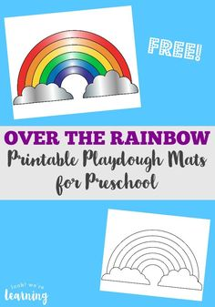 These Rainbow Playdough Mats are perfect preschool playdough mats for a spring or weather unit!